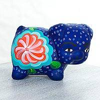 Ceramic sculpture, 'Little Blue Pig' - Hand Made Floral Motif Ceramic Sculpture Pig from Mexico
