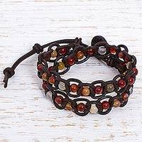 Carnelian wrap bracelet, 'Mexican Beauty' - Multicolored Carnelian Leather Wrap Bracelet from Mexico