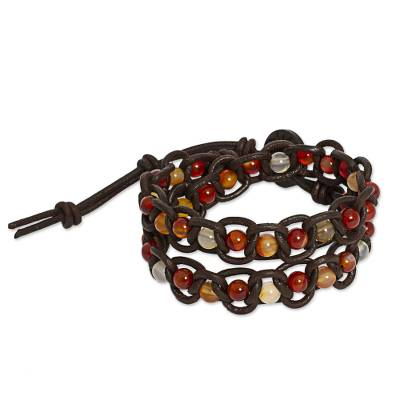 Multicolored Carnelian Leather Wrap Bracelet from Mexico
