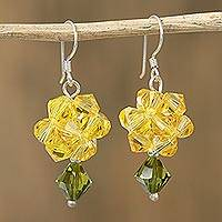 Crystal dangle earrings, 'Shooting Stars in Yellow' - Yellow Swarovski Crystal Dangle Earrings from Mexico