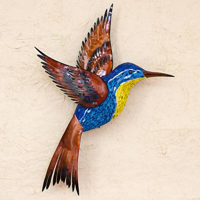 Glass mosaic and steel wall sculpture, 'Blue Hummingbird' (right-facing) - Steel Wall Art Right Facing Blue Hummingbird Mexico