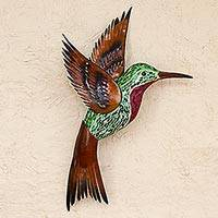Glass mosaic and steel wall sculpture, 'Green Hummingbird' (right-facing) - Steel Wall Art Right Facing Green Hummingbird Mexico