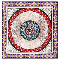 Amate paper wall art, 'Woven Spiral' - Mexican Hand Painted Paper Geometric Spiral Shape Wall Art