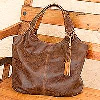 Leather hobo handbag, 'Honey Brown Belle'