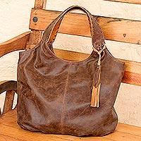 Leather hobo handbag Honey Brown Belle (Mexico)