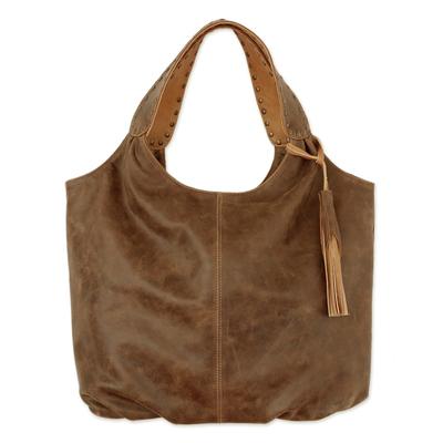 Leather hobo handbag, 'Honey Brown Belle' - Soft Honey Brown Leather Hobo Handbag with 3 Inner Pockets
