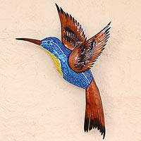 Glass mosaic and steel wall sculpture, 'Blue Hummingbird' (left-facing) - Blue Hummingbird Left Facing Steel Wall Art from Mexico