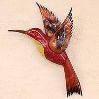 Glass mosaic and steel wall sculpture, 'Red Hummingbird' (left-facing) - Left Facing Red Hummingbird Steel Wall Art Mexico
