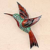 Glass mosaic and steel wall sculpture, 'Green Hummingbird' (left-facing) - Iron Sheet Wall Art Left Facing Green Hummingbird Mexico