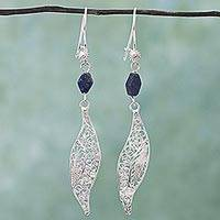 Lapis lazuli filigree dangle earrings, 'Aural Leaf in Blue' - Filigree Silver Lapis Lazuli Dangle Earrings from Mexico