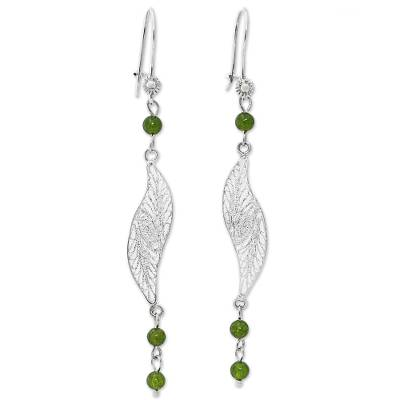 Filigree Sterling Silver Agate Dangle Earrings from Mexico