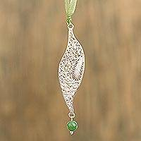 Agate filigree pendant necklace,