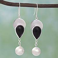 Obsidian dangle earrings, 'Dark Droplets' - Obsidian and 950 Silver Dangle Earrings from Mexico