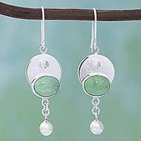 Variscite dangle earrings, 'Teary Eyes' - 950 Silver and Variscite Dangle Earrings from Mexico