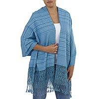 Cotton shawl, 'Fringed Cerulean' - Hand Made Cerulean Fringed Cotton Shawl from Mexico