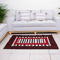 Wool area rug, 'Framed Illusions' (3.5x5.5) - Modern Hacienda Style Hand Woven Wool Rug (3.5x5.5)
