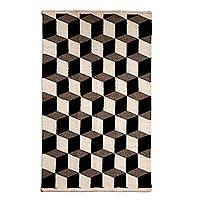 Wool area rug, 'Square Illusions' (3x5) - Grey Cubes Escher Style Hand Woven Wool Rug from Mexico