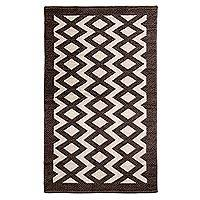 Wool area rug, 'Hacienda Sepia' (4x7) - Hacienda Style Handwoven Wool Textured Rug in Sepia & Ivory