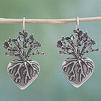 Sterling silver drop earrings, 'Root of Life' - Hand Made Sterling Silver Drop Earrings Heart from Mexico