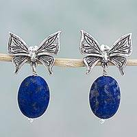 Lapis lazuli dangle earrings, 'Open Butterfly' - Sterling Silver Lapis Lazuli Dangle Earrings Mexico