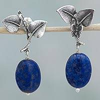 Lapis lazuli dangle earrings, 'Butterfly Leaves' - Sterling Silver Lapis Lazuli Dangle Earrings Leaf Mexico
