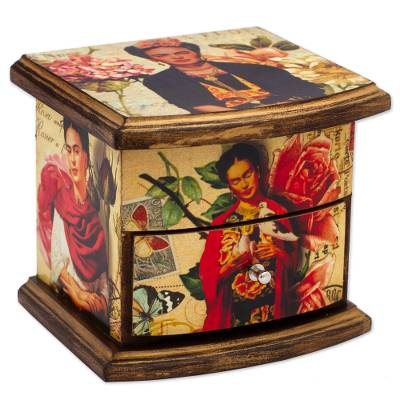 Frida Kahlo Portraits Decoupage on Pinewood Decorative Box