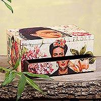 Decoupage wood box, 'Floral Frida' - Floral Frida Portraits Decoupage on Pinewood Decorative Box