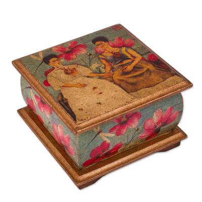Decoupage decorative box, 'Two Fridas in Turquoise' - Mexican Decorative Box in Decoupage featuring Frida Kahlo