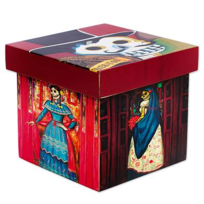 Decoupage decorative box, 'Day of the Dead Muses' - Traditional Day of the Dead Theme Decoupage Decorative Box
