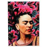 Decoupage wood wall accent, 'Olmec Frida' - Frida Kahlo on Handcrafted Decoupage Wall Art Panel