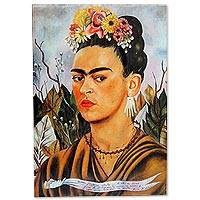 Decoupage wood wall accent, 'Frida's Self Portrait II' - Frida Kahlo Decoupage on Mexican Wall Art Wood Panel