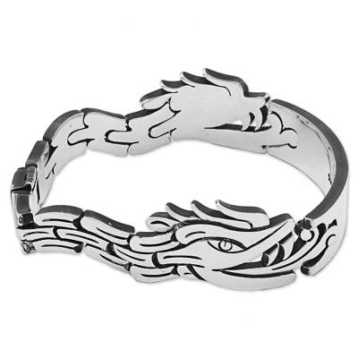 Sterling Silver Link Bracelet Aztec Dragon Mexico