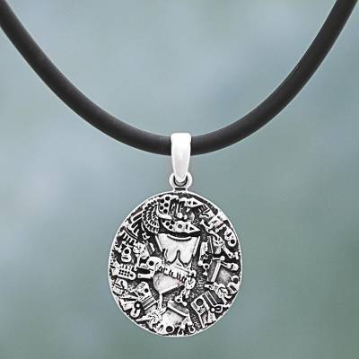 Sterling silver pendant necklace, 'Coyolxauhqui' - Sterling Silver Rubber Pendant Necklace Aztec God Mexico