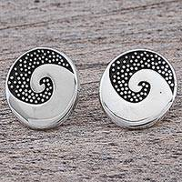 Sterling silver button earrings, 'Aztec Spiral' - Sterling Silver Button Earrings Spiral Dot Motif Mexico