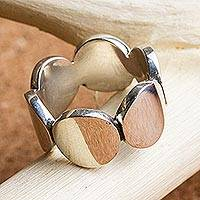 Sterling silver band ring, 'Splendid Moons' - Sterling Silver Band Ring with Circle Motif Mexico