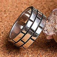 Featured review for Sterling silver band ring, Fortress Wall