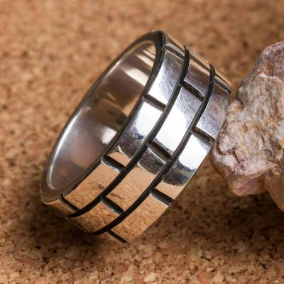 real silver ring price history - Sterling Silver Band Ring with Rectangle Motifs Mexico