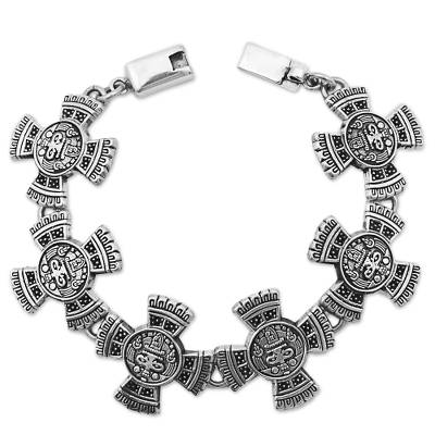 Sterling Silver Link Bracelet with Aztec Motifs Mexico