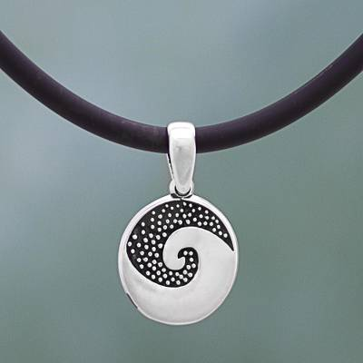 Sterling silver pendant necklace, 'Aztec Spiral' - Sterling Silver and Rubber Pendant Necklace Spiral Mexico