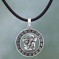 Sterling silver pendant necklace, 'Time Carrier' - Sterling Silver and Rubber Aztec Pendant Necklace Mexico