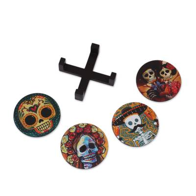Day of the Dead Theme on Mexican Decoupage Set of 4 Coasters
