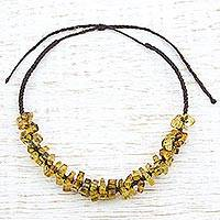 Amber beaded necklace, 'Mexican Sunlight' - Hand Made Adjustable Amber Beaded Necklace from Mexico