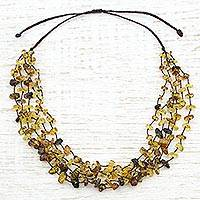 Amber beaded necklace, 'Ancient Strands' - Hand Made Multi-Strand Amber Beaded Necklace from Mexico