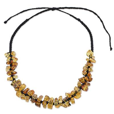 Dark Brown Adjustable Amber Beaded Necklace from Mexico