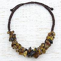 Amber beaded necklace, 'Natural Cluster' - Dark Brown Cord Adjustable Amber Beaded Necklace from Mexico