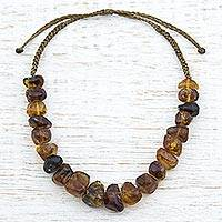 Amber beaded necklace, 'Ancient Preservation' - Hand Made Natural Amber Beaded Necklace from Mexico