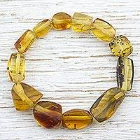 Amber beaded stretch bracelet, 'Ancient Pictures' (Mexico)