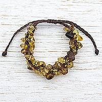 Amber beaded bracelet, 'Natural Cluster' (Mexico)