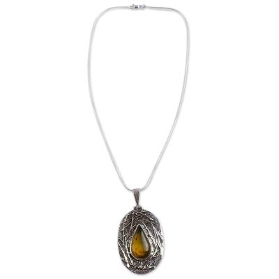Natural Mexican Amber on Sterling Silver Pendant Necklace