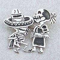 Sterling silver brooch pendant, 'Skeletal Hat Dance' - Day of the Dead Sterling Silver Brooch Pendant